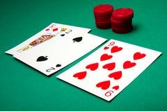 Dubbel neer bij Blackjack Stock Fotografie