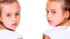 Dubbel portret van leuk meisje stock fotografie