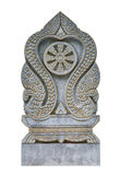 Dubbel sten för tjock skivagränsmarkör av den thailändska templet som isoleras Arkivbilder