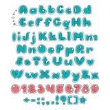 Dubbel stilsort för bubbla Komiskt alfabet Skärmtecknad filmstilsort royaltyfri illustrationer
