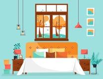 Dubbel stor säng med mjuk baksida och många kuddar under stort fönster med trädlandskap Sovruminre med nattduksbord, vektor illustrationer