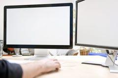 Dubbelcomputreskärm för presentationer och modeller Royaltyfria Foton