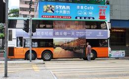 Dubbeldäckarebuss i Hong Kong. Royaltyfria Foton
