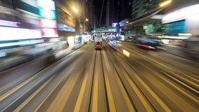 Dubbeldekkertram op nachtweg van Hong Kong Stock Foto