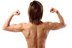 Dubbele bicepsen van erachter Stock Afbeeldingen