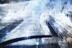 Dubbele blootstelling gemengde media 3D hologram van de Aardeplaneet en communicatie structuur Netwerk en globalisering wereldwij royalty-vrije stock afbeelding