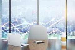 Dubbele blootstelling met moderne bureau en bedrijfsgrafieken Royalty-vrije Stock Foto's