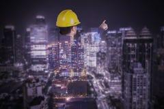 Dubbele blootstelling van burgerlijke bouw met wolkenkrabber royalty-vrije stock foto's