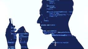 Dubbele blootstelling van hakker die smartphone met blauwe code inzake hem gebruiken Dubbele expositie van mensenprogrammeur die  stock video