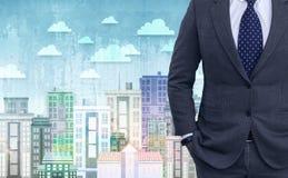 Dubbele blootstelling van jonge zakenman in zwart kostuum Royalty-vrije Stock Foto's