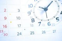 Dubbele blootstelling van kalender en klok, bedrijfsconcept stock afbeeldingen