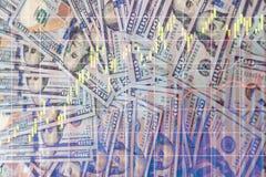 Dubbele blootstelling van ons dollar en grafiek Stock Afbeeldingen