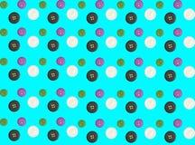 Dubbele blootstelling van patronen van kleurrijke knopen op blauwe backgrou royalty-vrije stock foto