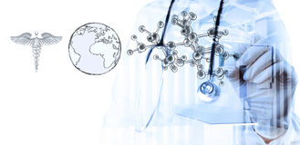 Dubbele blootstelling van slimme medische artsentekening Royalty-vrije Stock Foto's