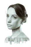Dubbele blootstelling van vrouw en de Stadshorizon van New York Royalty-vrije Stock Fotografie