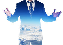 Dubbele blootstelling van zakenman stock fotografie