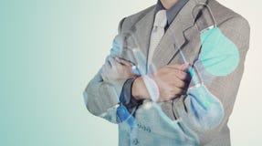 Dubbele blootstelling van zakenmanhand het werken Royalty-vrije Stock Afbeeldingen