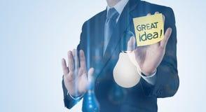 Dubbele blootstelling van zakenmanhand het werken Stock Afbeeldingen