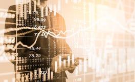 Dubbele blootstellings bedrijfsmens op voorraad financiële uitwisseling voorraad Royalty-vrije Stock Foto