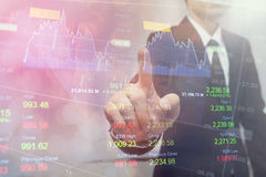 Dubbele blootstellings bedrijfsmensen Financiële effectenbeurzen of Investeringsstrategie Royalty-vrije Stock Fotografie
