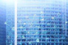 Dubbele blootstellings Commerciële organisatiestructuur op vage achtergrond royalty-vrije stock afbeelding