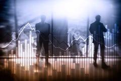 Dubbele blootstellings Financiële grafieken en diagrammen Bedrijfs, economie en investeringsconcept royalty-vrije stock afbeelding