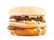 Dubbele cheeseburger Stock Afbeelding