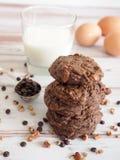 Dubbele chocoladekoekjes stock afbeelding