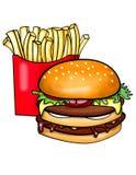 Dubbele decked hamburger en gebraden gerechten Royalty-vrije Stock Foto