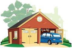 Dubbele garage en auto Royalty-vrije Stock Afbeeldingen