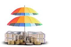 Dubbele geldbescherming met kleurrijke paraplu Stock Afbeeldingen