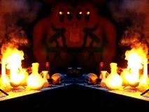 Dubbele Golem in het laboratorium van een tovenaar Stock Foto
