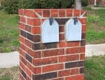 Dubbele grijze mailboxs stock foto's