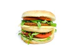 Dubbele hamburger Royalty-vrije Stock Afbeelding