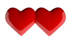 Dubbele hartvorm op witte 3d achtergrond Royalty-vrije Illustratie