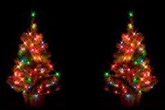Dubbele Kerstbomen Stock Afbeeldingen
