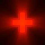 Dubbele kruisen in rood lichtgloed Stock Afbeelding