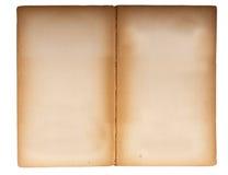 Dubbele pagina die van oud pocketboek wordt uitgespreid. stock foto