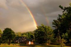 Dubbele regenboog Stock Foto