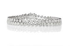 Dubbele Rij Diamond Bracelet Stock Fotografie