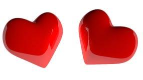 Dubbele rode hartvorm op witte 3d achtergrond Royalty-vrije Illustratie