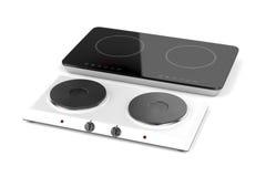 Dubbele warmhoudplaat en inductie cooktop Stock Foto