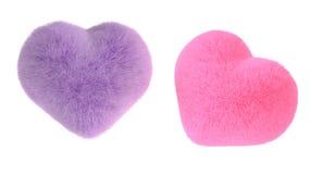 Dubbele Zachte het haar roze kleur en purple van de hartvorm op witte rug Royalty-vrije Illustratie