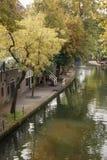 Dubbelsidiga kanaler Utrecht Arkivbild