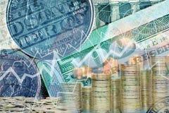Dubbelt avslöjande av prisschemat för valutan bunt Arkivfoton