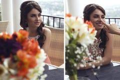 Dubbelt foto från bröllopalbum Arkivfoto