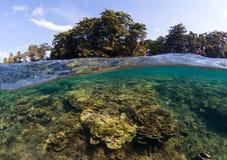 Dubbelt landskap med havet och himmel Kluvet foto för Seascape Tropisk ögrönska Royaltyfria Bilder
