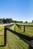 Dubbelt staket på hästlantgården royaltyfri foto
