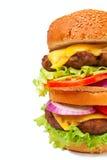 dubbelt stort för cheeseburger Arkivbilder