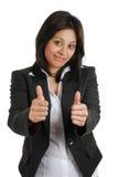 dubbelt tumm göra en gest för affär upp kvinna Royaltyfri Foto